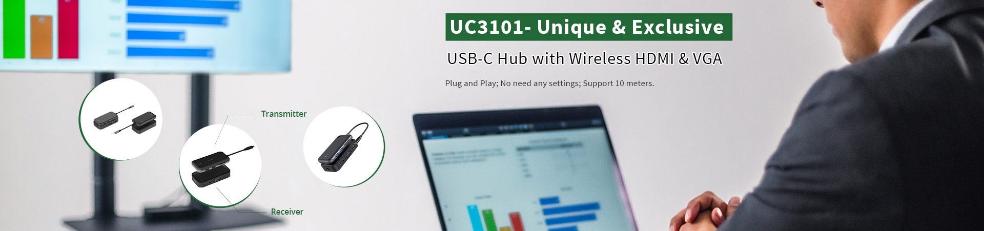 UC3101 USB-C Hub with Wireless Display
