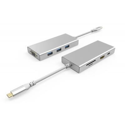 UC1203 8 Ports USB-C Hub  Dual Display HDMI + VGA