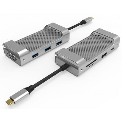 UC1303 8 Ports USB-C Hub  Dual Display HDMI + VGA