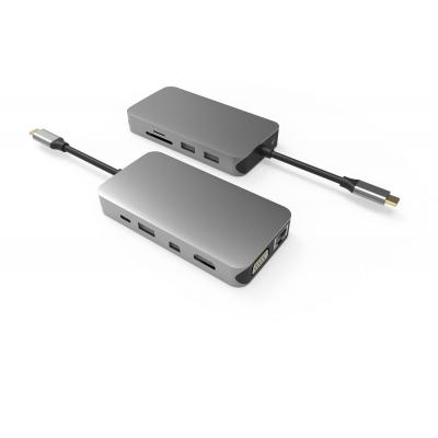 UC0205  11 Ports USB-C Hub   Triple Display HDMI + MDP + VGA