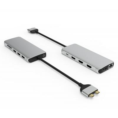 UC3308  12 Ports Dual USB-C Hub MST  for MacBook only  and Triple Display HDMI + HDMI + DP